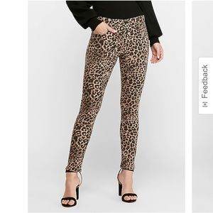 NWT EXPRESS high waisted leopard ankle skinny jean